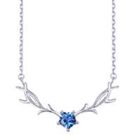KADER 卡蒂罗 XL1022 星耀之鹿999银项链 3.3g 琉璃蓝