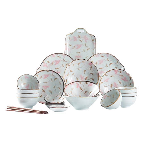 hommy 佳佰 樱花系列 陶瓷餐具 28件套 金枝玉叶