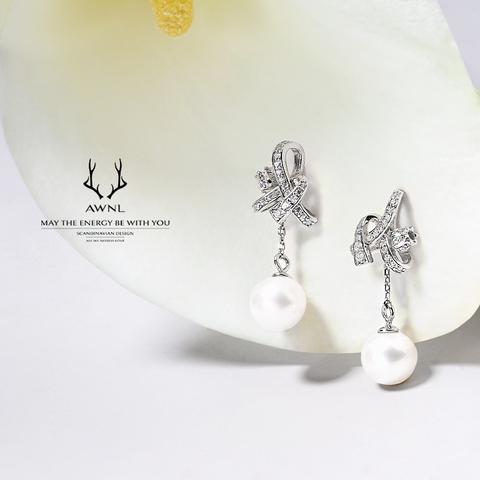 AWNL 瑞典奥锘 珍珠耳环女925银礼盒幸福铃兰送女友闺蜜生日520情人节礼物实用礼品 银色