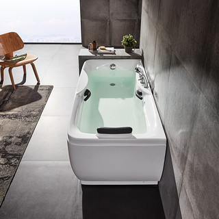 HUIDA 惠达 龙头浴缸1米6 带靠枕亚克力带扶手带龙头花洒浴枕成人HD103