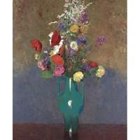 艺术家的礼物 艺术家的礼物-雷东花卉名作复刻版画-绿色花瓶 小号实木框 45x60cm