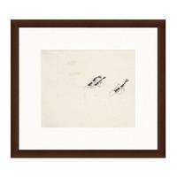 雅昌 国画水墨画《虾图》齐白石 背景墙装饰画挂画 茶褐色 56×50cm