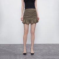 URBAN REVIVO WG15S5AN2003 女士褶皱荷叶边半身裙