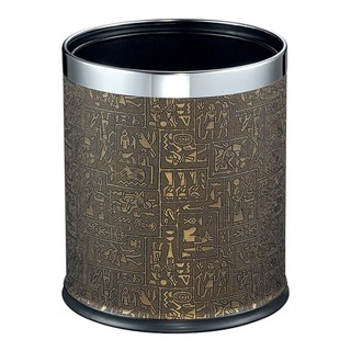 EKO 宜可 无盖不锈钢垃圾桶双层家用厨房客厅卫生间大号垃圾干湿分类垃圾桶垃圾篓 9445(埃及纹)10L