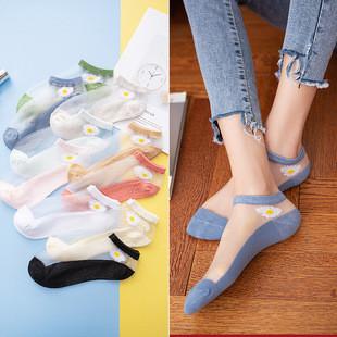 夏季小雏菊袜子女短袜玻璃丝
