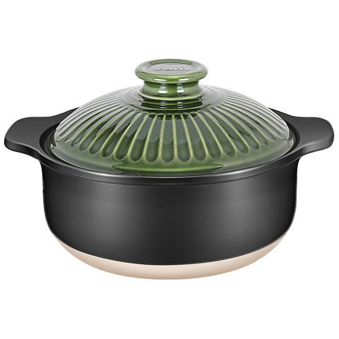 VATTI 华帝  砂锅小号 2.5L煲汤炖锅 煲仔饭砂锅 养生煲陶瓷锅 T2504 绿