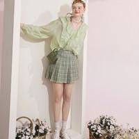 elf sack 1121_AL7048 女士格纹百褶裙