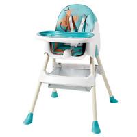 爱贝迪拉 宝宝餐椅儿童吃饭座椅多功能便携式可折叠婴儿餐桌椅家用学坐椅子 辛德绿-高矮可调【送加厚涂鸦印花皮垫+餐盘+置物袋】