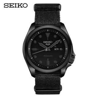 SEIKO 精工 ()男表 新盾牌5号系列10巴防水自动/手动上链100米防水帆布表带暗黑风运动机械表 SRPE69K1