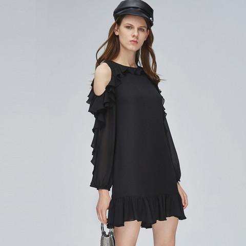 MISS SIXTY 雪纺黑色露肩荷叶边长袖短裙子女士连衣裙