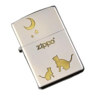 ZIPPO 之宝 打火机 喵望星空 银色