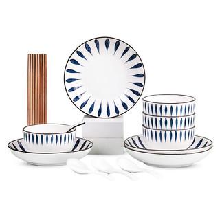 金玫瑰 陶瓷碗碟套装 流星雨 16件