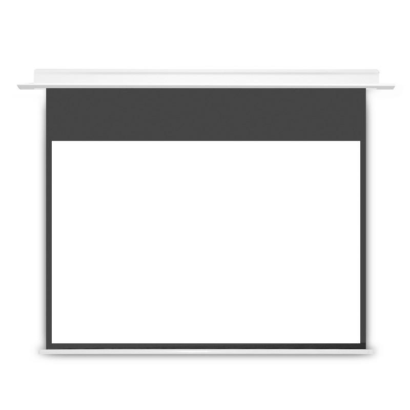 JJZER 竹者 嵌入式天花幕布投影仪屏幕布家用高清电动遥控升降家庭影院幕布玻纤金属抗光隐形隐藏式贴墙 100寸包安装 AI语音版白塑幕
