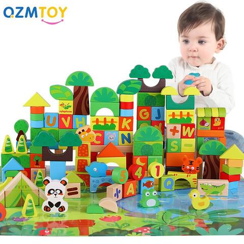 QZM 巧之木 森林场景积木(138粒积木+60片拼图)桶装