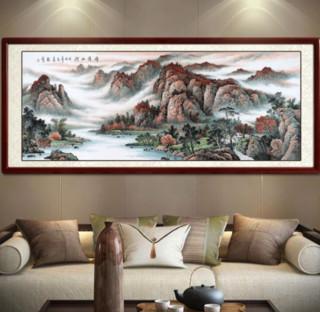 毛骏远 手绘国画山水画《锦绣山河》沙比利实木框 装裱218*88 宣纸