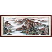 艺术品:尚得堂 毛远骏 手绘国画山水画《锦绣山河》沙比利实木框 装裱218*88 宣纸