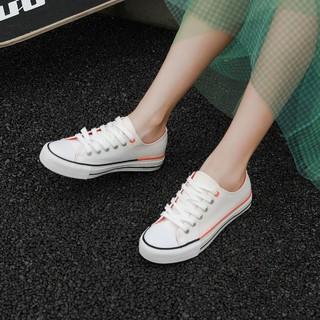 DAPHNE 达芙妮 2021夏季新款女帆布鞋小白鞋舒适百搭织物圆头拼接休闲鞋女