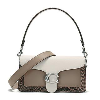 COACH 蔻驰 女士皮革手提单肩包 89972 LHTAP 粉白色灰褐色 中号