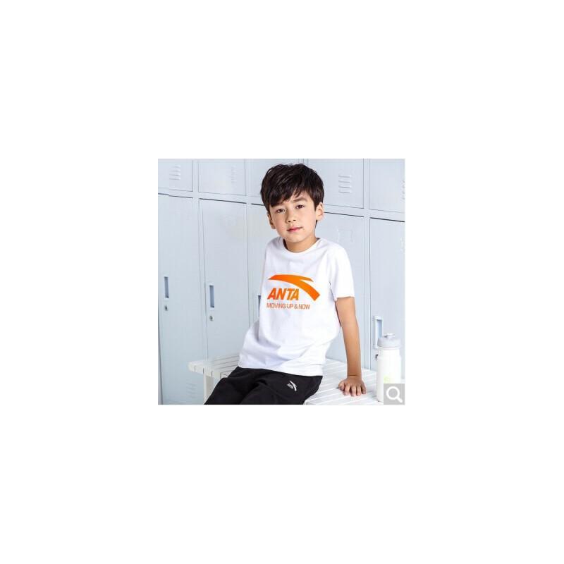 ANTA 安踏 【券后价69】安踏儿童短袖T恤男夏季棉2021新款中大童运动短T舒适棉半袖上衣A35028114