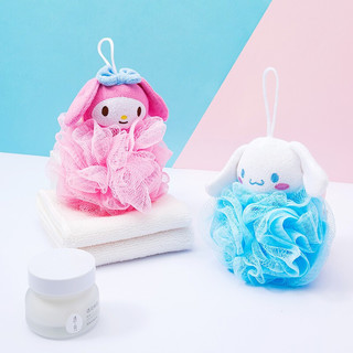MINISO 名创优品 名创优品(MINISO)Sanrio三丽鸥可爱沐浴球家用搓澡巾搓背起泡器洗澡浴室用具(混)