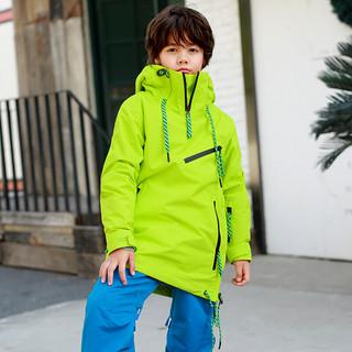 RUNNING RIVER Running river奔流极限 新品单板双板保暖防风男童女童儿童滑雪服夹克上衣W7745N 微厚 黄绿色512 120cm/S