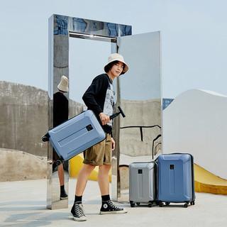 DELSEY 戴乐世 单杆万向轮拉杆箱男女商务旅行箱行李箱轻便登机密码箱子1608 蓝色 20寸