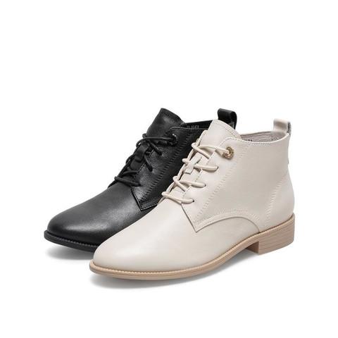 Teenmix 天美意 英伦风小短靴2020冬季新品商场同款方跟女皮靴CO544DD0 黑色(单里) 38