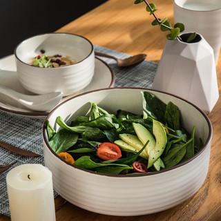IJARL 亿嘉 亿嘉IJARL 日式简约家用陶瓷大汤碗菜碗面碗沙拉碗水果碗餐具 韦斯顿8.5英寸白色单只装