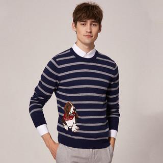 Hush Puppies 暇步士 男士条纹圆领羊毛衫