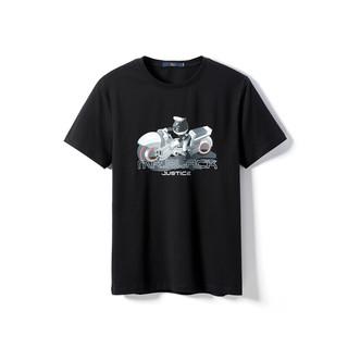 HLA 海澜之家 HLA海澜之家MR.BLACK系列男女同款舒适时尚印花套头短袖T恤HNTBJ2Q409A