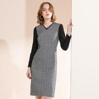 冬季时尚拼接V领修身通勤职业铅笔裙中长款连衣裙 S 黑灰色