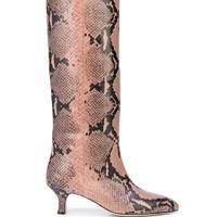 Paris Texas Snake Embossed Print Kitten Heel Boots
