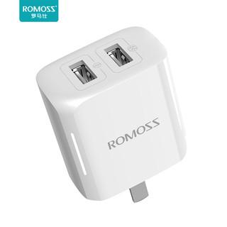 ROMOSS 罗马仕 罗马仕苹果充电器头快充iPhone6/7/8plus适用于华为手机vivo小米安卓双USB口插头