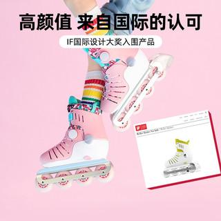 COOGHI酷骑溜冰鞋儿童女男童滑冰轮滑鞋旱冰初学者小孩中专业平花鞋滑滑鞋 柠檬黄 S(28-31码数调节)适合3-8岁儿童