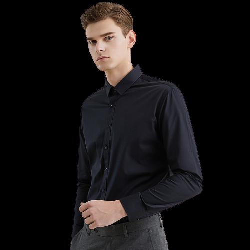 DaiShu 袋鼠 男士长袖衬衫 1B133261820 黑色 3XL