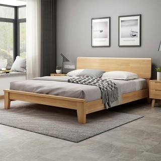 冬巢 北欧实木双人床现代简约实木床家用小户型卧室家具