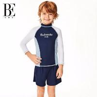 BALNEAIRE 范德安 BE范德安儿童分体泳衣防晒防紫外线2020新款长袖男童女童运动游泳衣 蓝色 145/72(12-13)