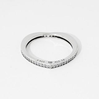 PANDORA 潘多拉  197095CZ-54 闪亮的弧形爱情戒指