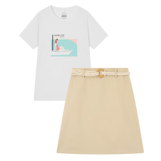 Semir 森马 2021夏季新款图案圆领短袖T恤文艺半裙女生通勤两件套套装女