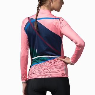 思帕客 骑行服女夏季长袖山地自行车骑行套装骑行长裤单车服轨迹粉 上衣 XL