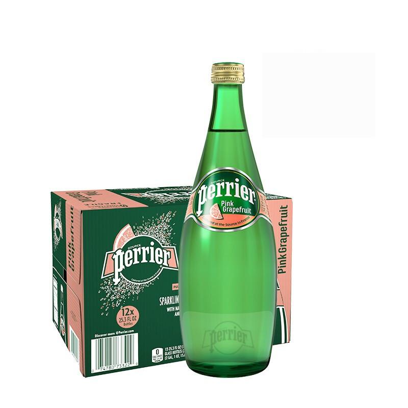 perrier 巴黎水 法国原装进口 Perrier巴黎水西柚味气泡水 天然矿泉水 750ml*12瓶整箱装