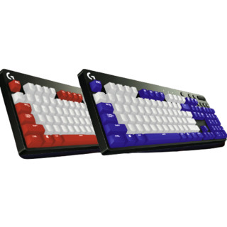logitech 罗技 G610 104键 有线机械键盘 蓝白 Cherry青轴 单光+定制键帽