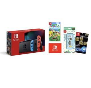 Nintendo 任天堂 Switch主机 Joy-Con(L)霓虹蓝/(R)霓虹红+液晶保护膜 多功能+烟熏 动物森林-智能袋EVA