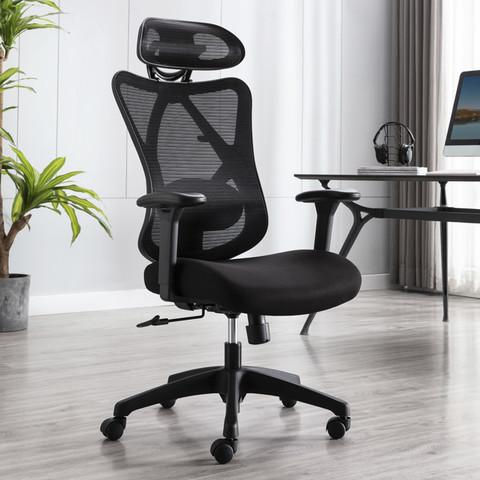 UE 永艺 沃克 高弹透气网布人体工学椅 黑框黑布不带搁脚