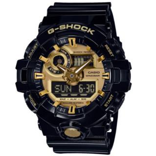 CASIO 卡西欧 手表 G-SHOCK系列男士运动手表 黑金黑武士 GA-710GB-1A