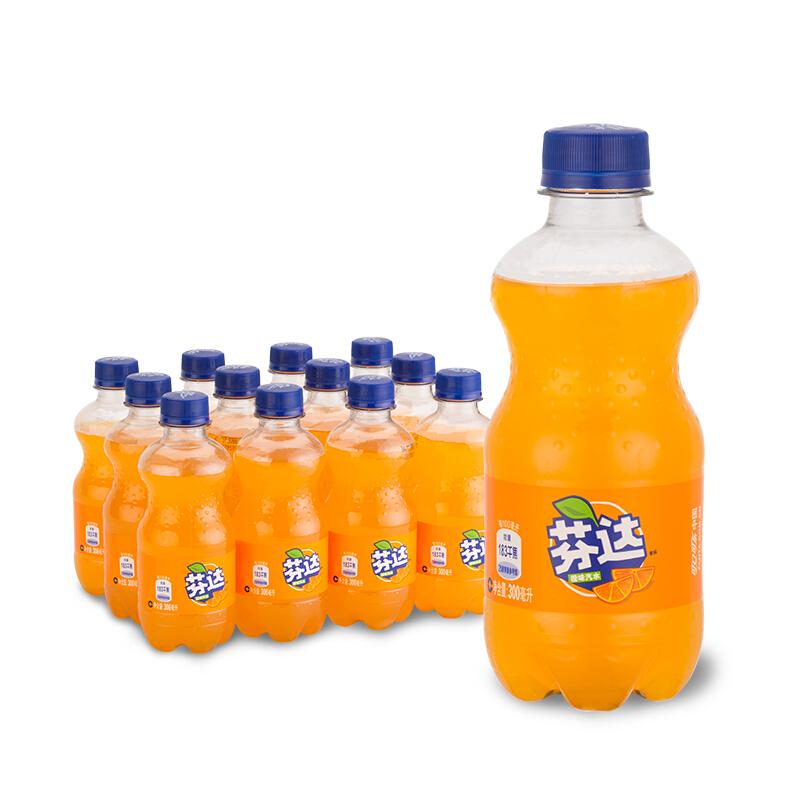 Coca-Cola 可口可乐 芬达 Fanta 橙味汽水 碳酸饮料 300ml*12瓶
