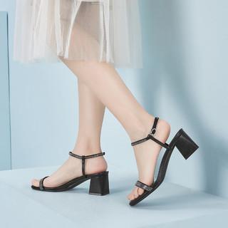 YEARCON 意尔康 21年夏季仙女风一字带高跟鞋露趾罗马凉鞋方头粗跟带钻女凉鞋