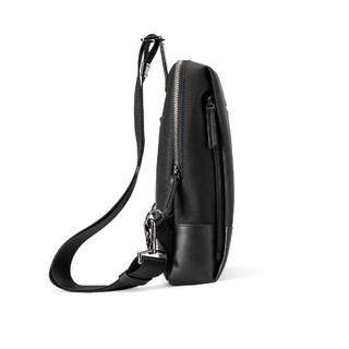 新秀丽  45Q010斜挎单肩两用包男牛皮革轻便个性胸包时尚简约手提包 黑色 均码