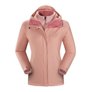 700蓬 女款三合一冲锋衣3件套 抓绒内胆+鹅绒羽绒内胆冲锋衣 KG120340 蜜桃粉 L