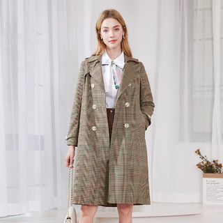 郁香菲 2021春季新款格子呢子大衣时尚翻领双排扣A版型中长款外套